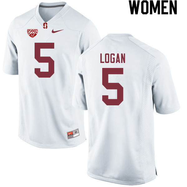 Women #5 Donjae Logan Stanford Cardinal College Football Jerseys Sale-White